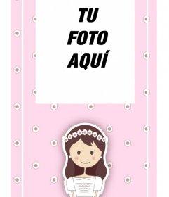 Marca Páginas personalizable de recuerdo de primera comunión en color rosa con una ilustración única de una niña con un vestido de comunión blanco y flores en el pelo