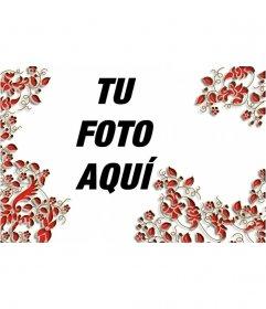 Marco para fotos de hojas rojas
