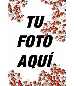 Marco de hojas rojas vertical. Para decorar tus fotografías y hacerlas más interesantes. Puedes guardar la imagen o enviarla por correo electrónico a la gente