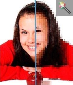 Edita tu fotografía con este filtro para imágenes refractor. Curioso efecto lupa en líneas horizontales y verticales, que se cruzan en tu imagen