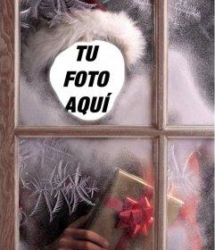 Montaje de Santa Claus haciendo un regalo