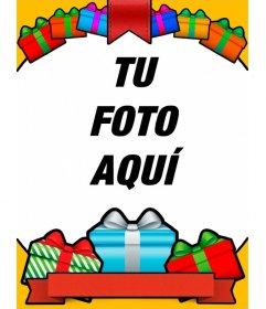 Postal de cumpleaños con regalos de colores llamativos