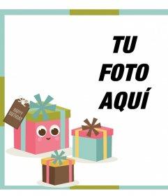 Marco para editar con una foto y decorar con regalos de cumpleaños