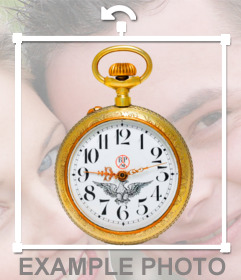 Pegatina de un reloj de bolsillo dorado