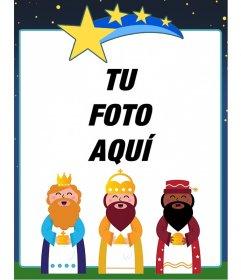 Marco para fotos infantil con un dibujo de los Reyes Magos