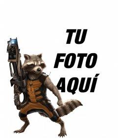 Fotomontaje con Rocket Raccoon de Guardianes de la Galaxia