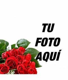Añade a tus fotos un ramo de rosas romántico para regalar a tu amante y añadir texto online