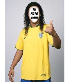 Fotomontaje para ser Ronaldinho con la camiseta de la selección de Brasil