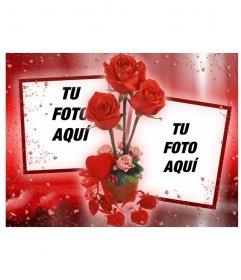 Marco para fotos en el que podrás poner dos imágenes que aparecerán unidas por unas rosas. fondo de color rojo con corazones