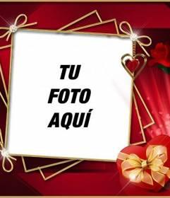 Marco para fotos con fondo rojo muy elegante, con rosas y diamantes. Para poner tu foto