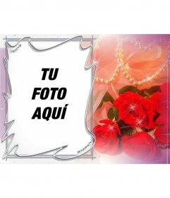 Postal para San Valentín personalizable con una foto de rosas y perlas