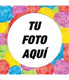 Decora una fotografía con este marco para fotos forma redonda con rosas de diferentes colores