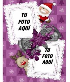 Marco para dos fotos, en el que vemos a Santa Claus y a su reno favorito Rudolf. Para enviar por email