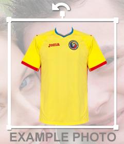 Foto efecto de la camisa de fútbol de Rumania para pegar en tus fotos