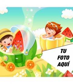 Collage infantil con excursión en tren de frutas para poner fotografías