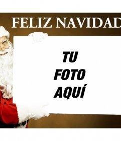 Original montaje con Santa Claus sujetando tu foto y con el texto FELIZ NAVIDAD