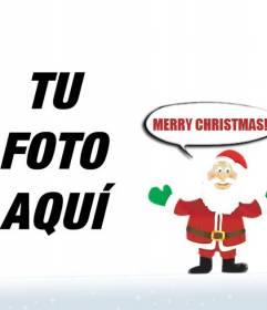 Foto montaje de Santa Claus deseando Merry Christmas para hacer con tu foto