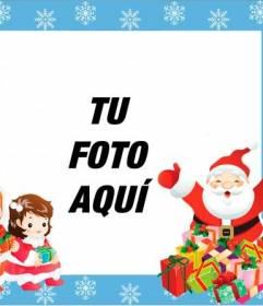Marco infantil con Papa Noel y dos niños para poner una foto
