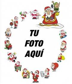 Bonito marco con varios Papa Noel para decorar fotos