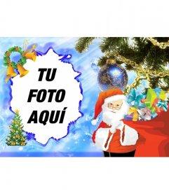 Tarjeta navideña ilustrada con Papa Noel para decorar tus fotografías