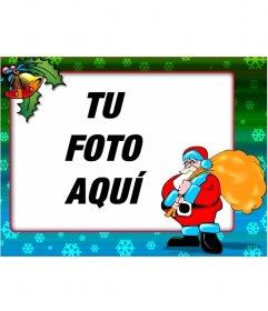 Postal de navidad de Santa Claus con borde de colores y copos de nieve