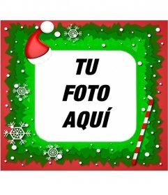 Moldura navideña para tus imágenes con un gorro de papa Noel