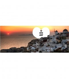 Fotomontaje para poner tu foto en una portada de Facebook de Santorini