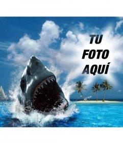 Fotomontaje de un tiburón mordiendo a tu foto