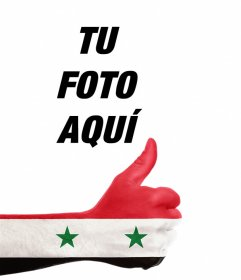 Mano con la bandera de Siria para añadir tu foto online