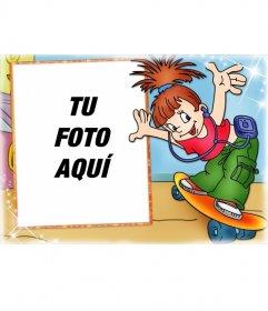 Marco de fotos Skate girl para niñas. Pon tu foto en el fondo