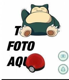 Fotomontaje de Pokemon Go con Snorlax para editar con tu foto