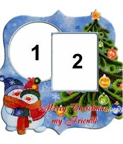 Marco para dos fotos con motivo de navidad, árbol, y muñecos de nieve