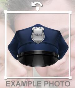 Fotomontaje para editar y ponerte un gorro de policia gratis