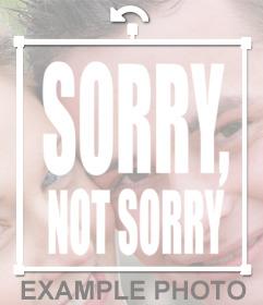 Frase SORRY, NOT SORRY en tus imágenes como un sticker online
