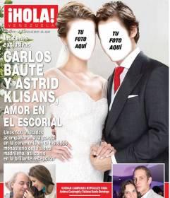 Fotomontaje en el que puedes aparecer en la portada de la revista *Hola* con tu pareja vestidos de boda con vestido blanco de novia y traje de novio