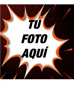 Tu fotografía en un marco para fotos en forma de bocadillo onomatopéyico de golpe en tebeo, dibujado en rojo con fondo negro con trazos encarnados
