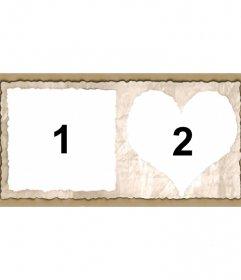 Marco para dos fotos con forma de corazón y cuadrado, bordes de papel