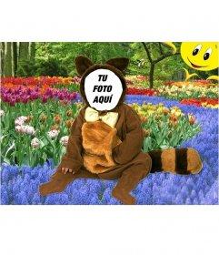 Disfraz virtual infantil de mapache para editar online