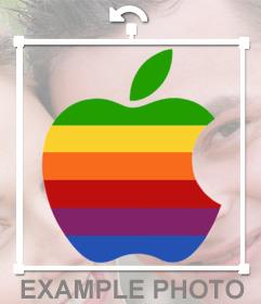 Sticker del logo de Apple con los colores para tu foto