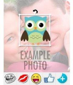 Sticker de un buho para poner en tus fotos con nuestro editor online