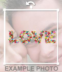Sticker de la palabra LOVE con flores para tus fotos