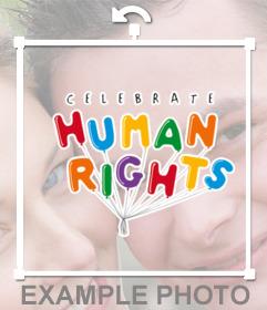 Sticker de globos de los derechos humanos para tu foto