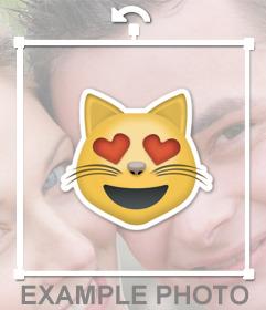 Sticker del emoticono del Gato enamorado