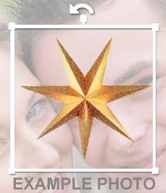 Sticker de estrella dorada de Navidad para poner en tus fotos