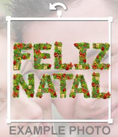 Texto FELIZ NATAL decorado con guirnalda de navidad para añadir en tu foto