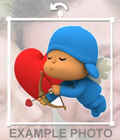 Pon a Pocoyo de Cupido en tus fotos con este sticker