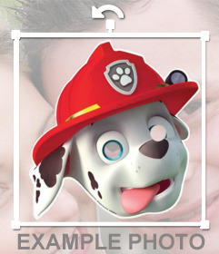 Sticker de mascara del personaje Marshall de Patrulla Canina