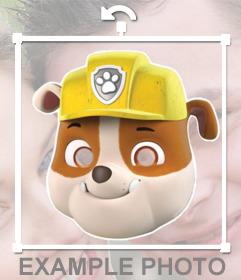 Máscara del personaje infantil Rubble para añadir en tus fotos online