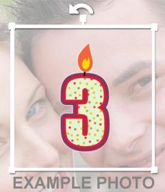Sticker para decorar tus fotos con una vela de número 3