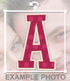 Sticker de la letra A para pegar en tus fotos con diseño infantil
